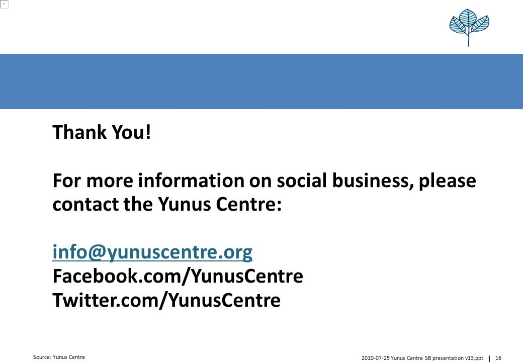 162010-07-25 Yunus Centre SB presentation v13.ppt A4rb_standard – 20100111 – do not delete this text object.