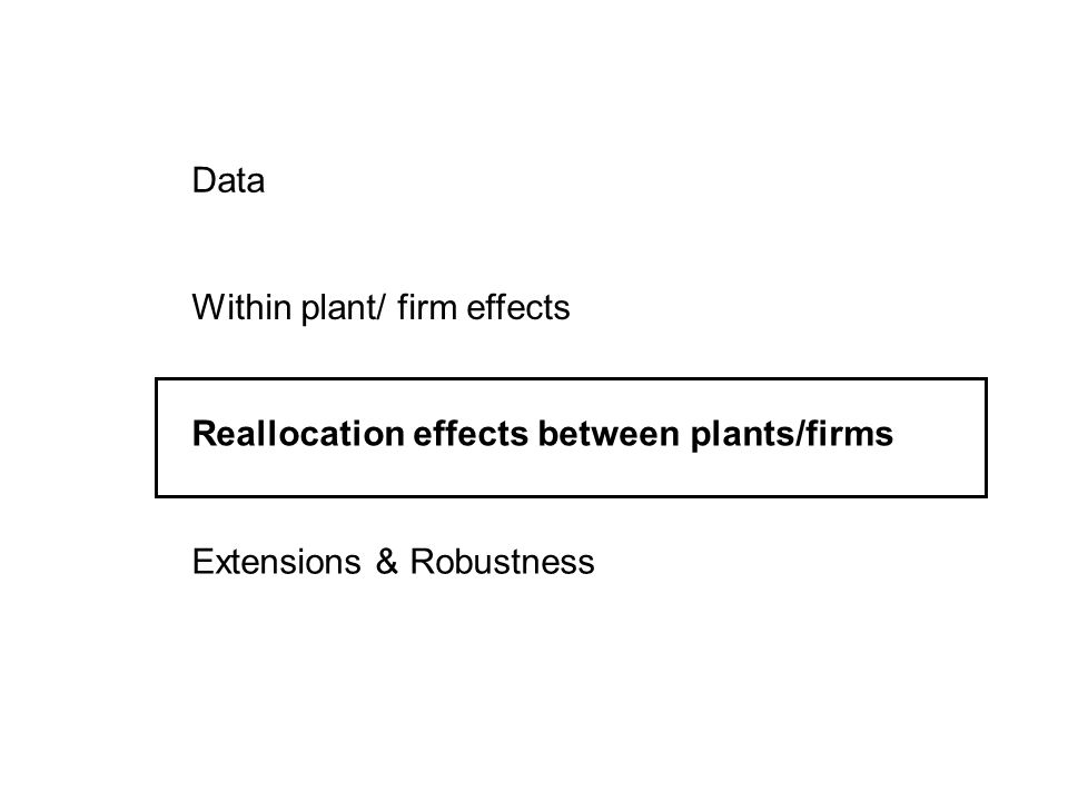 Data Within plant/ firm effects Reallocation effects between plants/firms Extensions & Robustness