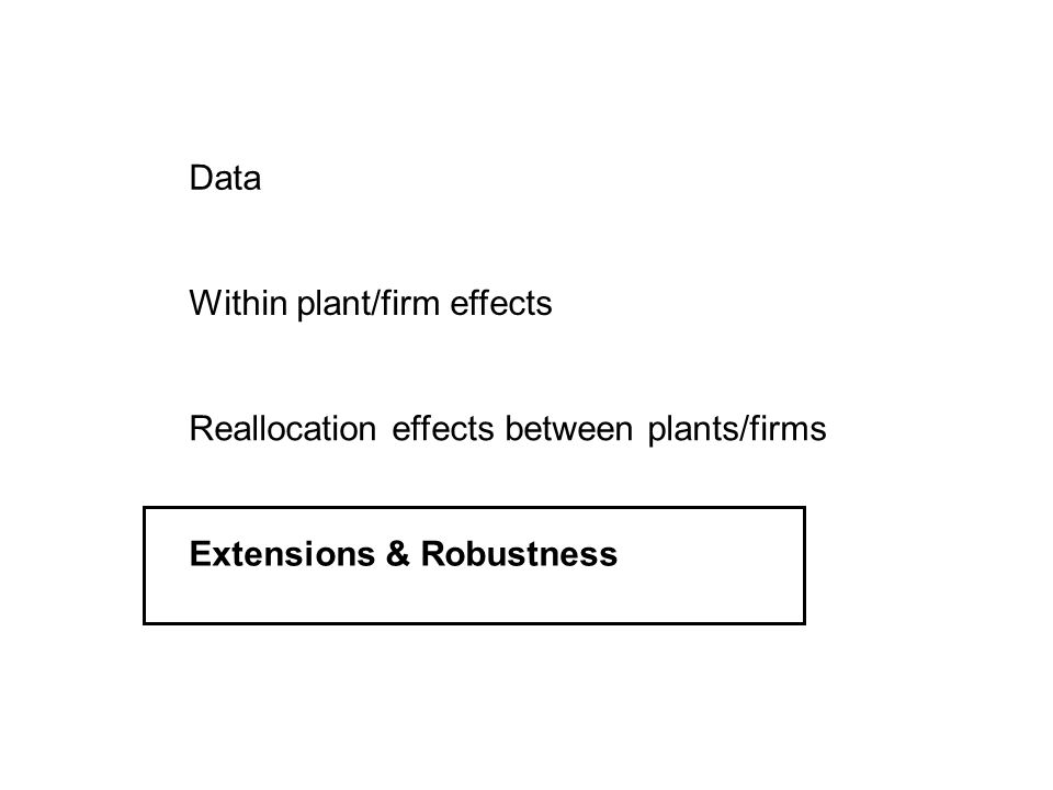 Data Within plant/firm effects Reallocation effects between plants/firms Extensions & Robustness