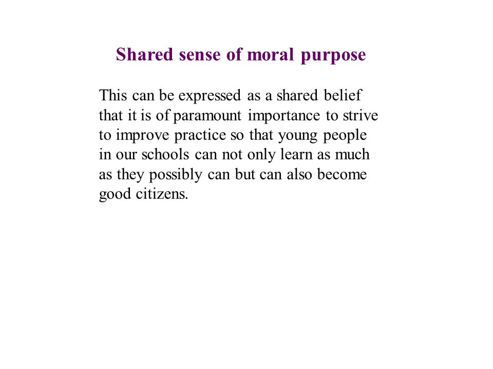 Shared sense of moral purpose This can be expressed as a shared belief that it is of paramount importance to strive to improve practice so that young people in our schools can not only learn as much as they possibly can but can also become good citizens.