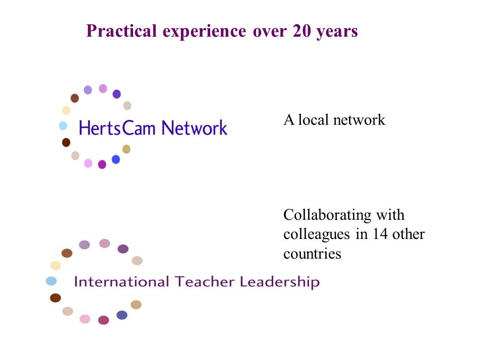 Practical experience over 20 years A local network Collaborating with colleagues in 14 other countries