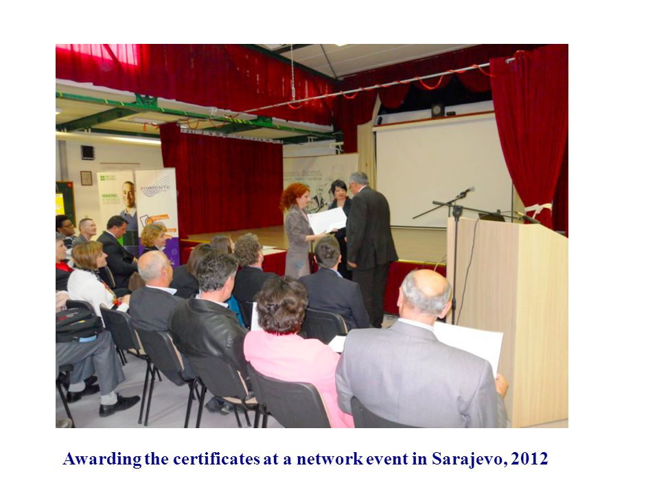 Awarding the certificates at a network event in Sarajevo, 2012