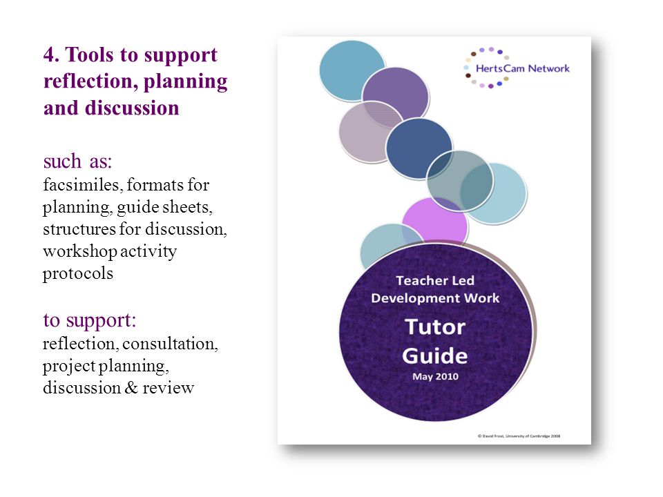 4. Tools to support reflection, planning and discussion such as: facsimiles, formats for planning, guide sheets, structures for discussion, workshop a