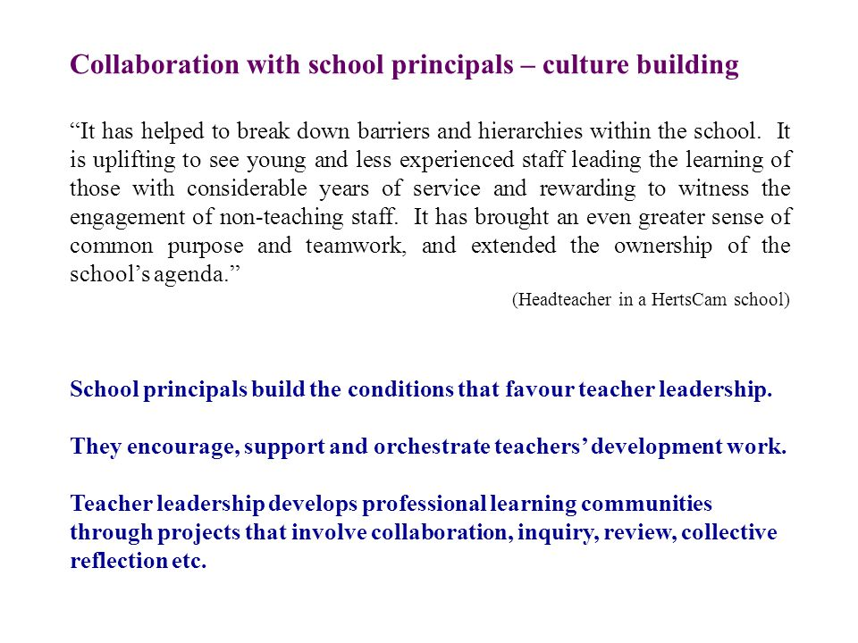 It has helped to break down barriers and hierarchies within the school.
