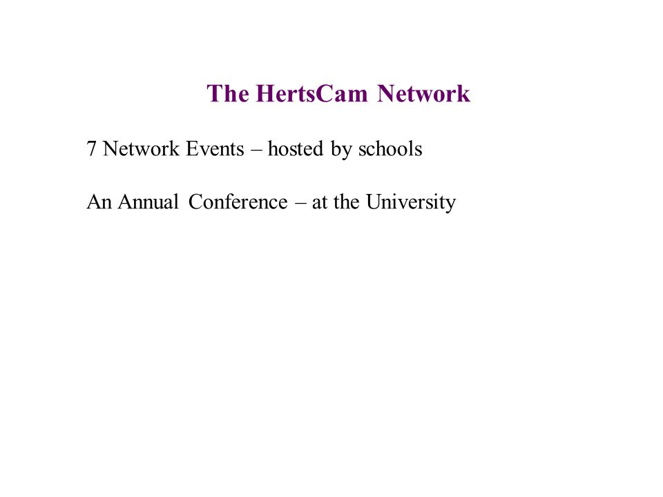 The HertsCam Network 7 Network Events – hosted by schools An Annual Conference – at the University