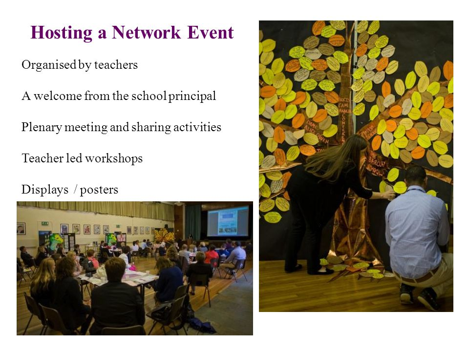 Hosting a Network Event Organised by teachers A welcome from the school principal Plenary meeting and sharing activities Teacher led workshops Displays / posters