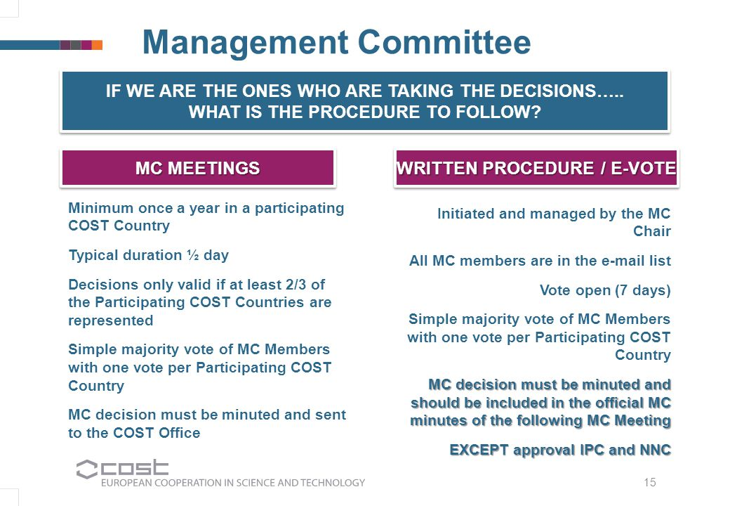 Management Committee Minimum once a year in a participating COST Country Typical duration ½ day Decisions only valid if at least 2/3 of the Participating COST Countries are represented Simple majority vote of MC Members with one vote per Participating COST Country MC decision must be minuted and sent to the COST Office IF WE ARE THE ONES WHO ARE TAKING THE DECISIONS…..