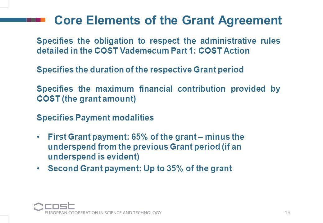 19 Core Elements of the Grant Agreement Specifies the obligation to respect the administrative rules detailed in the COST Vademecum Part 1: COST Action Specifies the duration of the respective Grant period Specifies the maximum financial contribution provided by COST (the grant amount) Specifies Payment modalities First Grant payment: 65% of the grant – minus the underspend from the previous Grant period (if an underspend is evident) Second Grant payment: Up to 35% of the grant