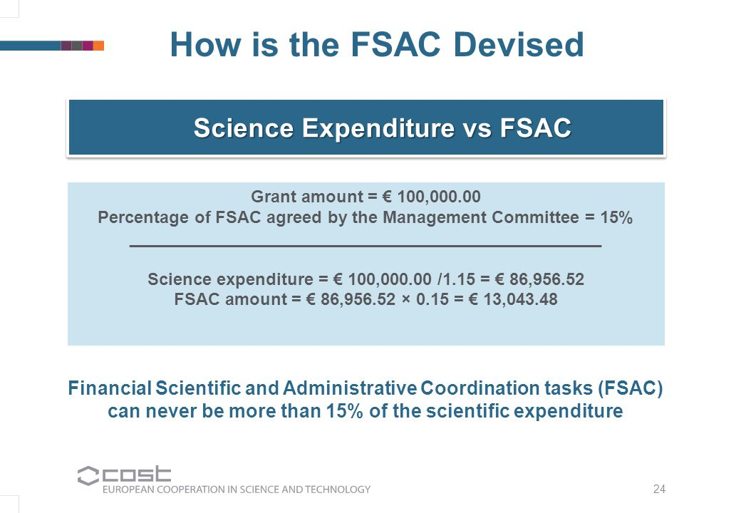 24 How is the FSAC Devised Science Expenditure vs FSAC Grant amount = € 100,000.00 Percentage of FSAC agreed by the Management Committee = 15% __________________________________________________ Science expenditure = € 100,000.00 /1.15 = € 86,956.52 FSAC amount = € 86,956.52 × 0.15 = € 13,043.48 Financial Scientific and Administrative Coordination tasks (FSAC) can never be more than 15% of the scientific expenditure