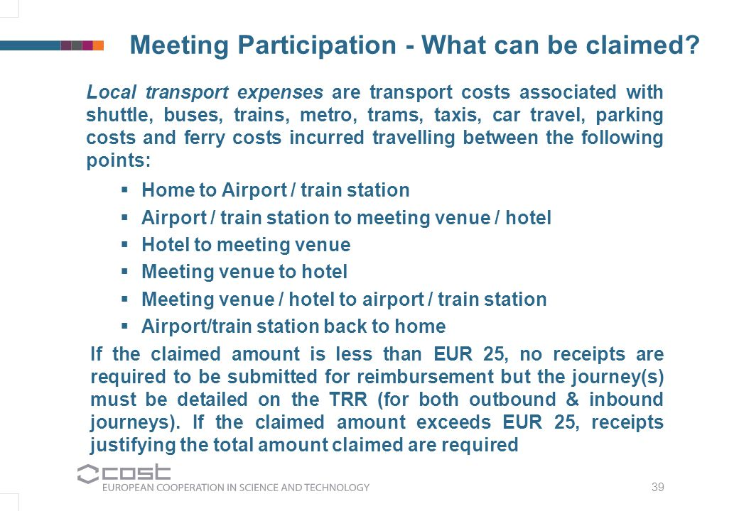 39 Meeting Participation - What can be claimed.