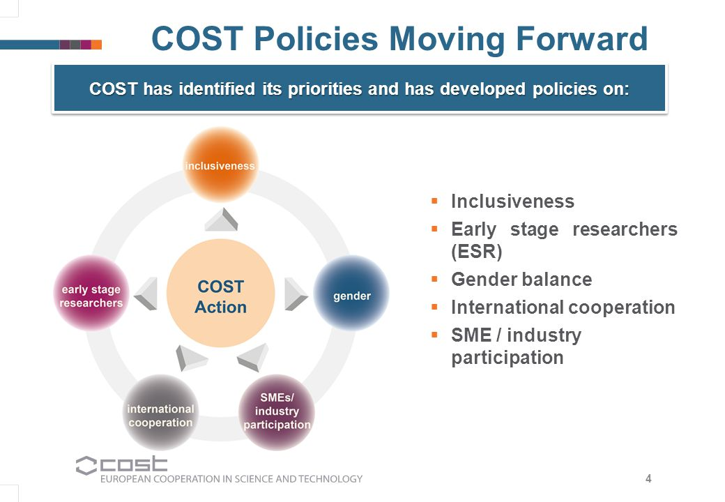 COST Policies Moving Forward  Inclusiveness  Early stage researchers (ESR)  Gender balance  International cooperation  SME / industry participation 4 COST has identified its priorities and has developed policies on: