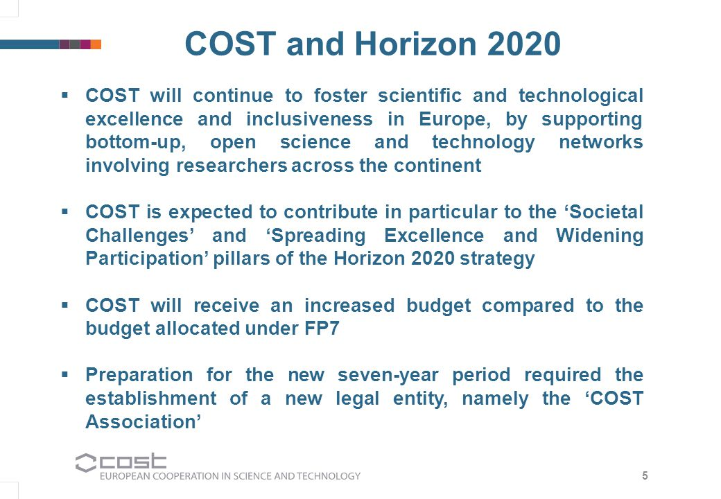 The 'COST Association' was established on 19 September 2013 for the purpose of being the legal entity for the implementation of COST activities under Horizon 2020 The COST Association has been established as an International Non-Profit Association under Belgian law (AISBL) COST Association COST Funding from June 2014 EuropeanCommission Horizon 2020 EuropeanCommission COSTAssociationCOSTAssociation 6