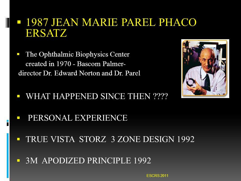  1987 JEAN MARIE PAREL PHACO ERSATZ  The Ophthalmic Biophysics Center created in 1970 - Bascom Palmer- director Dr.