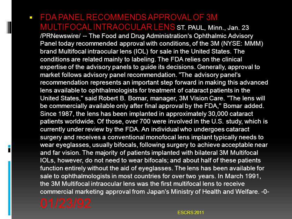  FDA PANEL RECOMMENDS APPROVAL OF 3M MULTIFOCAL INTRAOCULAR LENS ST.