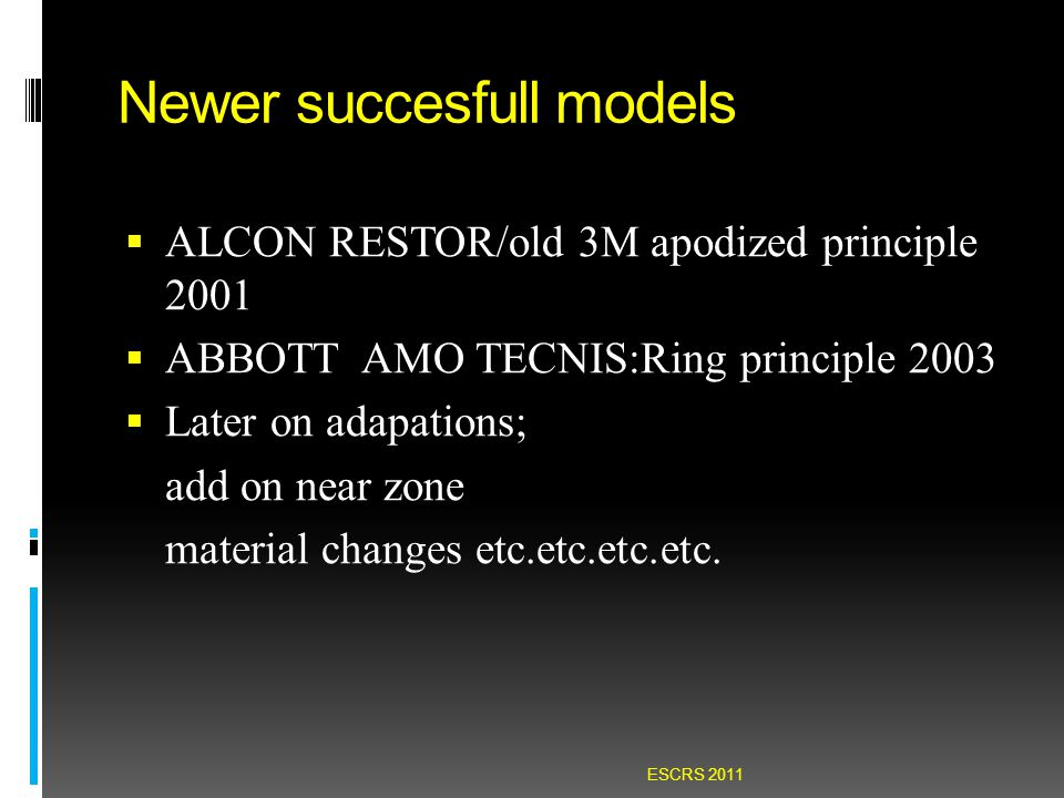 Newer succesfull models  ALCON RESTOR/old 3M apodized principle 2001  ABBOTT AMO TECNIS:Ring principle 2003  Later on adapations; add on near zone