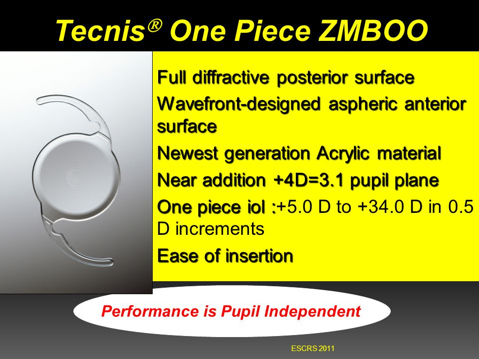 Tecnis  One Piece ZMBOO Full diffractive posterior surface Wavefront-designed aspheric anterior surface Newest generation Acrylic material Near addit