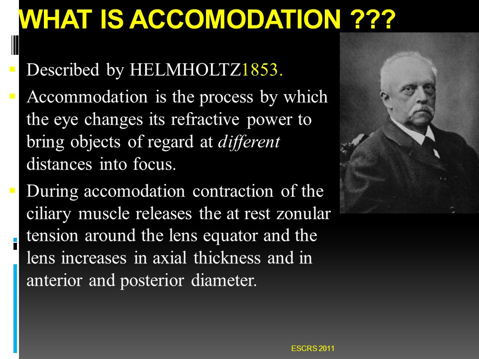 WHAT IS ACCOMODATION ??. Described by HELMHOLTZ1853.