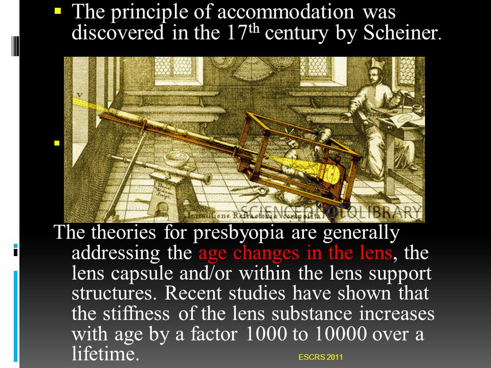  The principle of accommodation was discovered in the 17 th century by Scheiner.  The theories for presbyopia are generally addressing the age chang