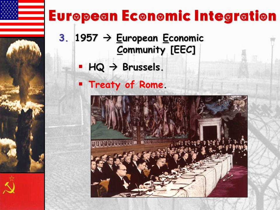 European Economic Integration 2.1952  European Coal & Steel Community [ECSC].