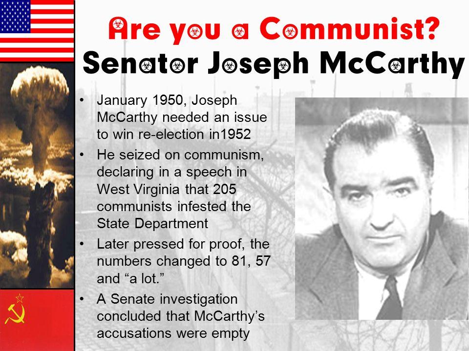 Essential Questions 3.12.09 Why does Senator Joseph McCarthy latch onto communism in 1950.