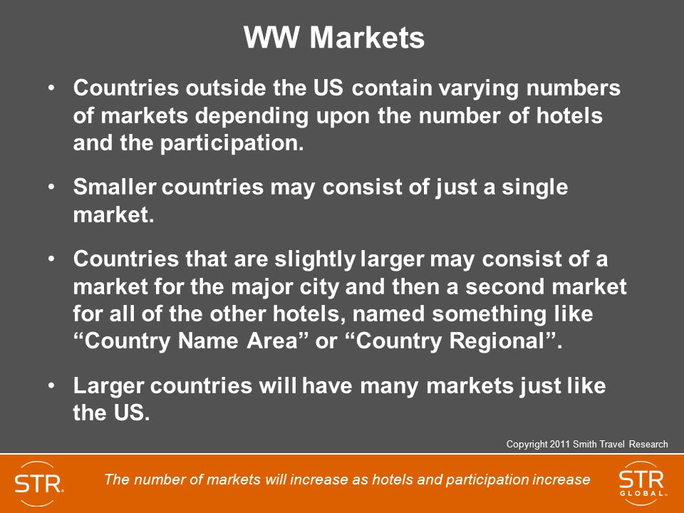 WW Markets Countries outside the US contain varying numbers of markets depending upon the number of hotels and the participation.