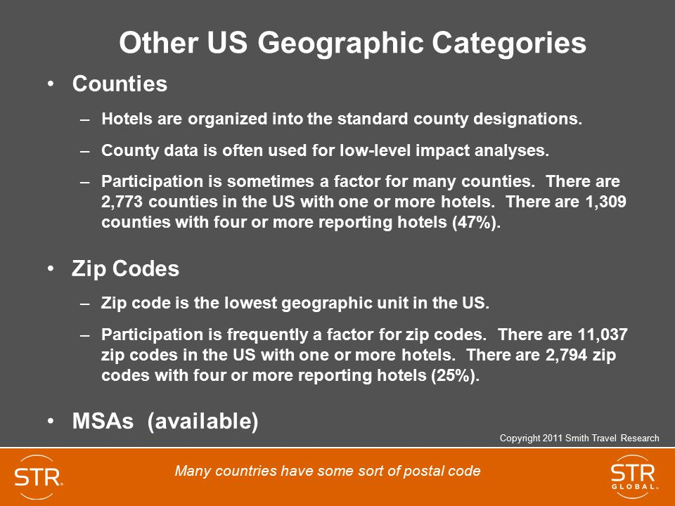 Other US Geographic Categories Counties –Hotels are organized into the standard county designations.