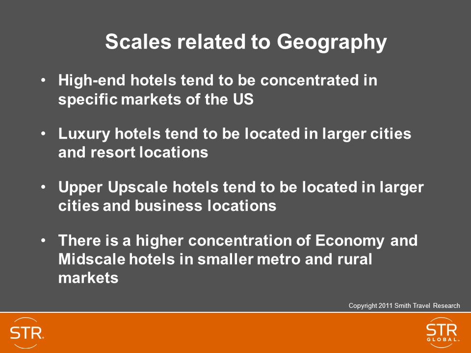 Scales related to Geography High-end hotels tend to be concentrated in specific markets of the US Luxury hotels tend to be located in larger cities and resort locations Upper Upscale hotels tend to be located in larger cities and business locations There is a higher concentration of Economy and Midscale hotels in smaller metro and rural markets Copyright 2011 Smith Travel Research