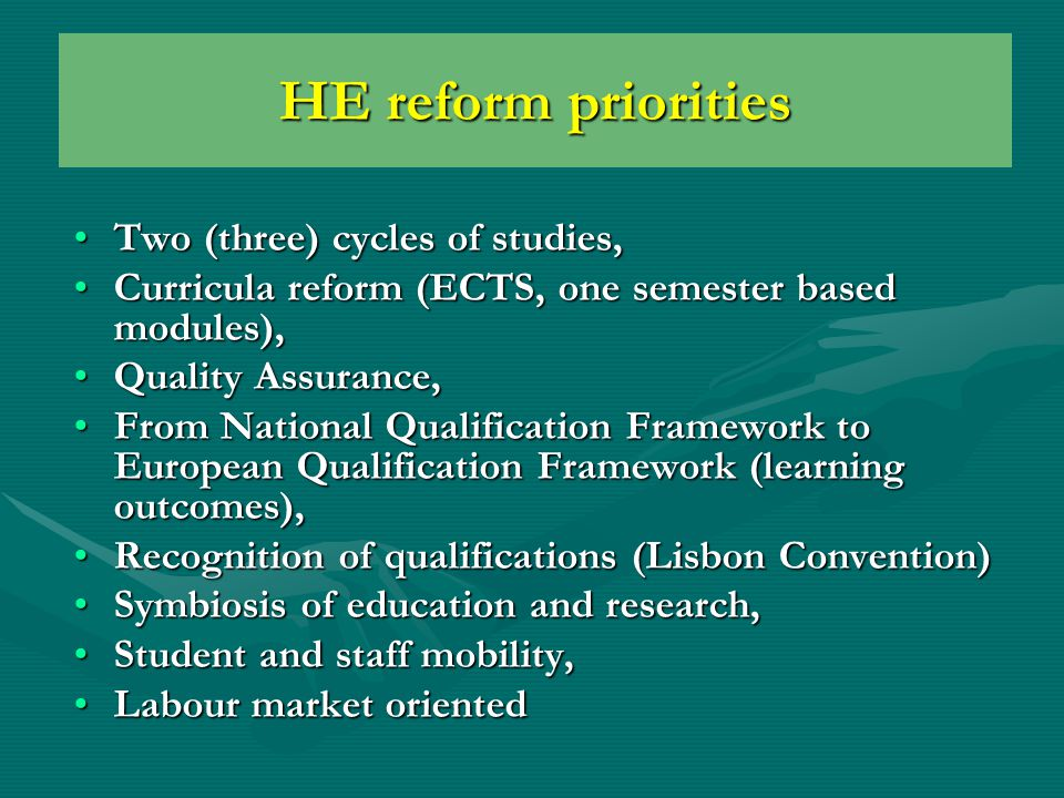 Albanian HE reform Based on Bologna Process and its main documentsBased on Bologna Process and its main documents National Master PlanNational Master Plan HE New LawHE New Law Reform of R&D institutions – integration with HEIsReform of R&D institutions – integration with HEIs