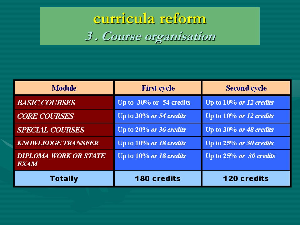 curricula reform 3. Course organisation
