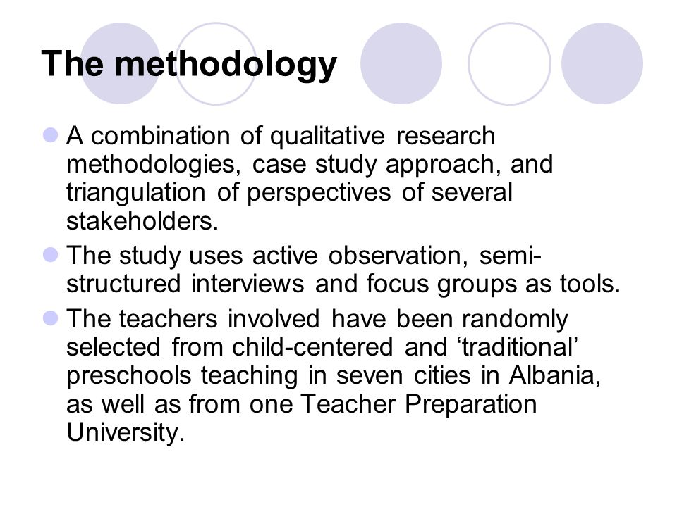 The methodology A combination of qualitative research methodologies, case study approach, and triangulation of perspectives of several stakeholders.