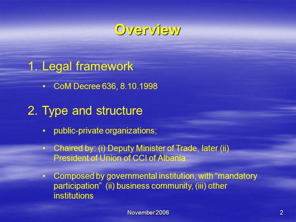 November 20062 Overview 1. Legal framework CoM Decree 636, 8.10.1998 2.