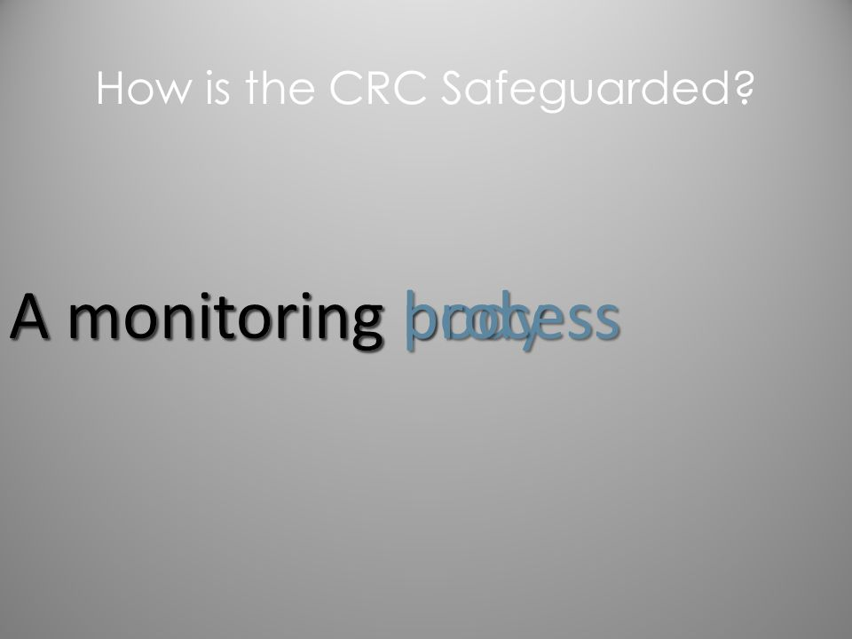 A monitoring body A monitoring process How is the CRC Safeguarded