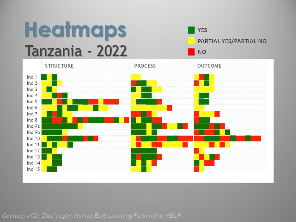 Tanzania - 2022 Heatmaps YES NO PARTIAL YES/PARTIAL NO Courtesy of Dr. Ziba Vaghri, Human Early Learning Partnership; HELP