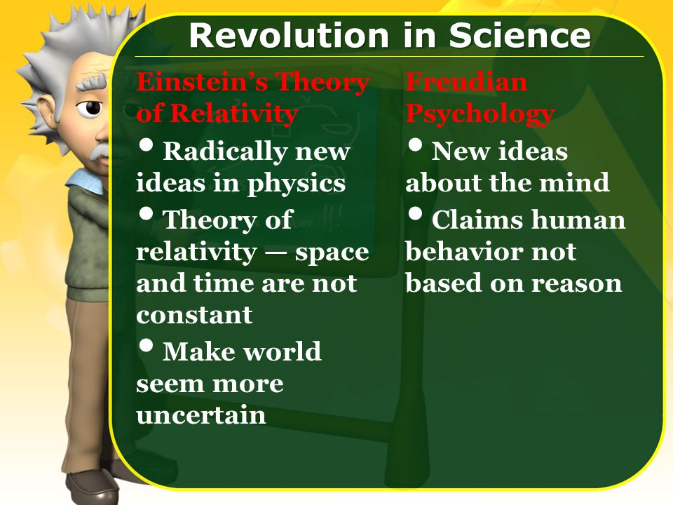 Einstein's Theory of Relativity Radically new ideas in physics Theory of relativity — space and time are not constant Make world seem more uncertain Freudian Psychology New ideas about the mind Claims human behavior not based on reason Revolution in Science