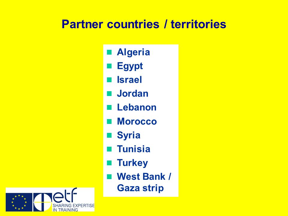 Algeria Egypt Israel Jordan Lebanon Morocco Syria Tunisia Turkey West Bank / Gaza strip Partner countries / territories