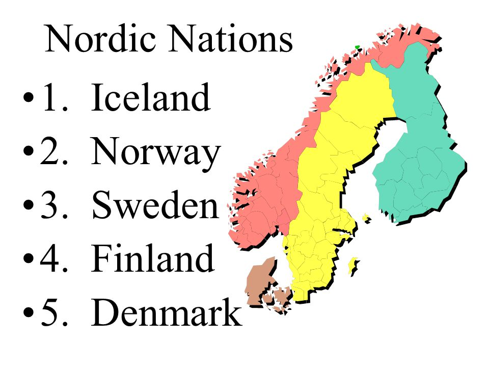 Nordic Nations 1. Iceland 2. Norway 3. Sweden 4. Finland 5. Denmark