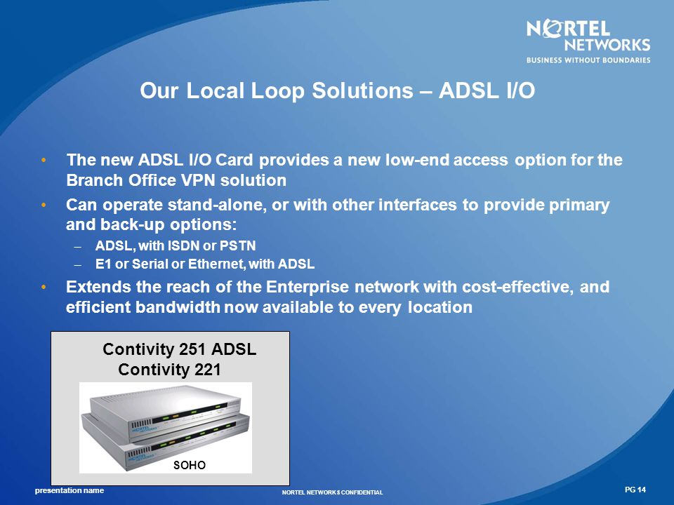 presentation name NORTEL NETWORKS CONFIDENTIAL PG 15 Portfolio View with Contivity 200 Nortel Enterprise Small Office Mid- Range High End $1,500 $>20,000 Encrypted 3DES Performance (Mbps) List Price Contivity 1700 Contivity 2700 Contivity 5000 2.5 5 10 20 40 60 80 100 120 140 160 180 >200 Contivity 1xxx $8,000 $1,000 Contivity 600 $500 Small Enterprise Small Medium Enterprise Medium Large Enterprise ~ Large Enterprise Contivity 221 Small Office Home Office Contivity 251 ADSL Contivity 221 SOHO 5000 tunnels 2000 tunnels 500 tunnels 30-50 tunnels 5 tunnels Contivity 221 $ 449.00 MSRP Contivity 251 (ADSL) $ 599.00 MSRP