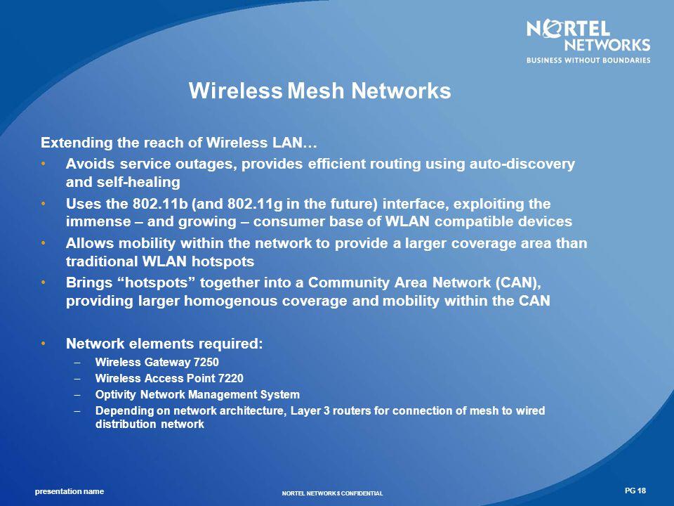 presentation name NORTEL NETWORKS CONFIDENTIAL PG 19