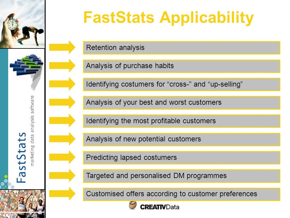 FastStats Applicability Identifying costumers for cross- and up-selling Retention analysis Analysis of new potential customers Analysis of purchase habits Predicting lapsed costumers Identifying the most profitable customers Analysis of your best and worst customers Targeted and personalised DM programmes Customised offers according to customer preferences