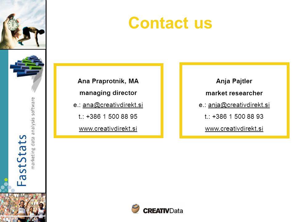 Contact us Ana Praprotnik, MA managing director e.: ana@creativdirekt.si t.: +386 1 500 88 95 www.creativdirekt.si Anja Pajtler market researcher e.: