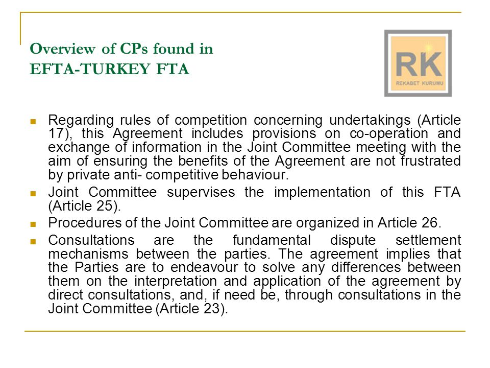 Overview of CPs found in Bilateral FTAs The competition provisions of the FTAs are generally found under the title Rules of Competition Concerning Undertakings and State Aid .