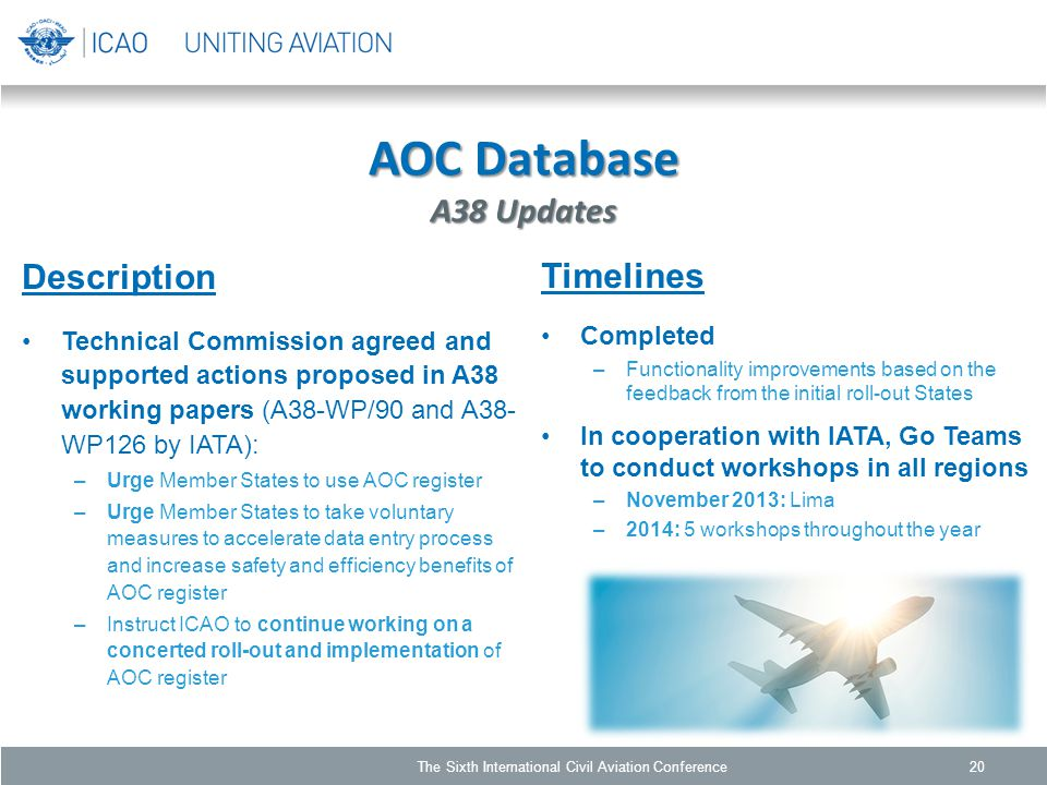 AOC Database A38 Updates Description Technical Commission agreed and supported actions proposed in A38 working papers (A38-WP/90 and A38- WP126 by IATA): –Urge Member States to use AOC register –Urge Member States to take voluntary measures to accelerate data entry process and increase safety and efficiency benefits of AOC register –Instruct ICAO to continue working on a concerted roll-out and implementation of AOC register 20 Timelines Completed –Functionality improvements based on the feedback from the initial roll-out States In cooperation with IATA, Go Teams to conduct workshops in all regions –November 2013: Lima –2014: 5 workshops throughout the year The Sixth International Civil Aviation Conference