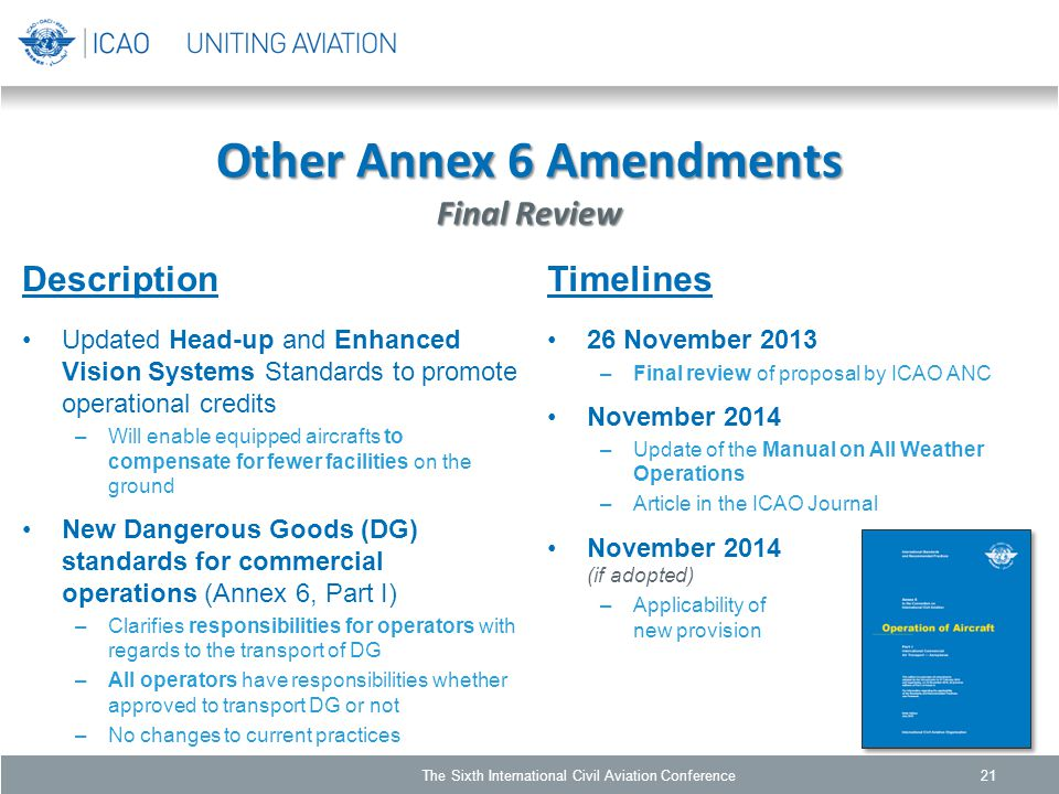 Other Annex 6 Amendments Final Review Description Updated Head-up and Enhanced Vision Systems Standards to promote operational credits –Will enable equipped aircrafts to compensate for fewer facilities on the ground New Dangerous Goods (DG) standards for commercial operations (Annex 6, Part I) –Clarifies responsibilities for operators with regards to the transport of DG –All operators have responsibilities whether approved to transport DG or not –No changes to current practices 21 Timelines 26 November 2013 –Final review of proposal by ICAO ANC November 2014 –Update of the Manual on All Weather Operations –Article in the ICAO Journal November 2014 (if adopted) –Applicability of new provision The Sixth International Civil Aviation Conference