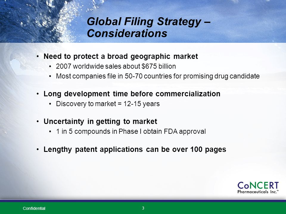 Confidential 3 Global Filing Strategy – Considerations Need to protect a broad geographic market 2007 worldwide sales about $675 billion Most companies file in 50-70 countries for promising drug candidate Long development time before commercialization Discovery to market = 12-15 years Uncertainty in getting to market 1 in 5 compounds in Phase I obtain FDA approval Lengthy patent applications can be over 100 pages
