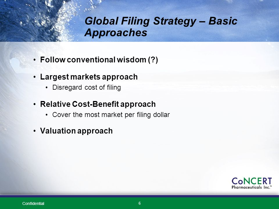 Confidential 6 Global Filing Strategy – Basic Approaches Follow conventional wisdom ( ) Largest markets approach Disregard cost of filing Relative Cost-Benefit approach Cover the most market per filing dollar Valuation approach