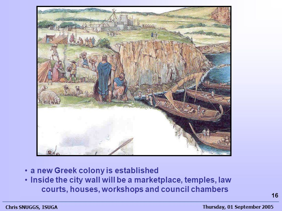 Thursday, 01 September 2005 Chris SNUGGS, ISUGA 16 a new Greek colony is established Inside the city wall will be a marketplace, temples, law courts, houses, workshops and council chambers