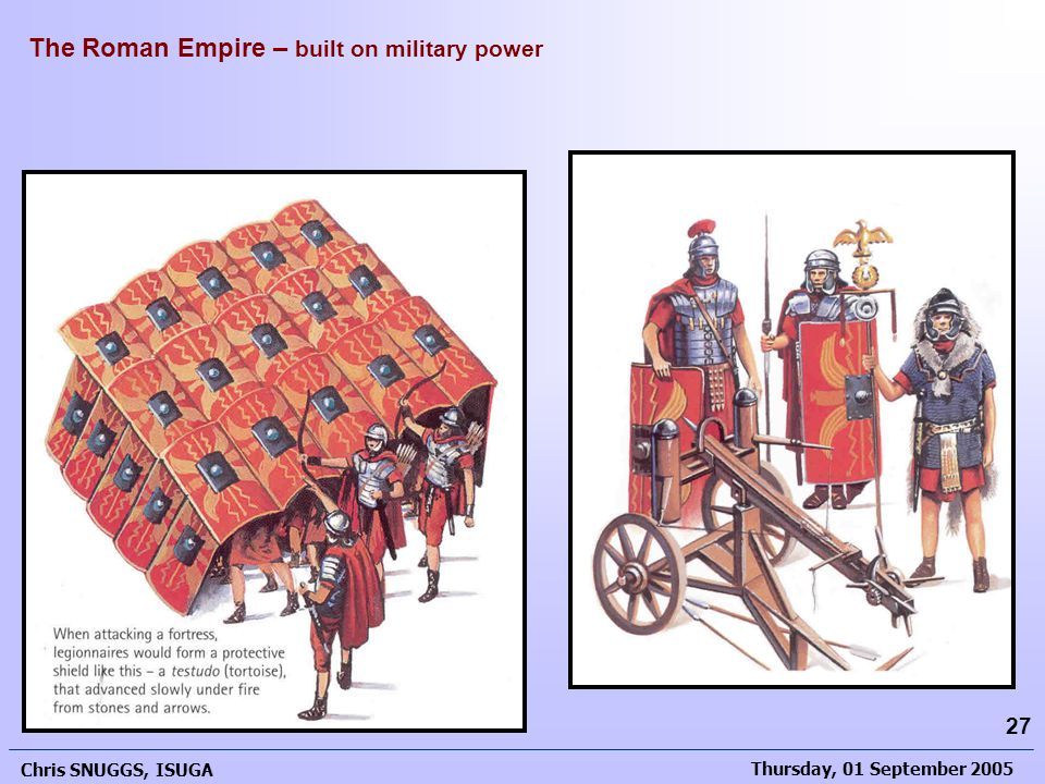 Thursday, 01 September 2005 Chris SNUGGS, ISUGA 27 The Roman Empire – built on military power