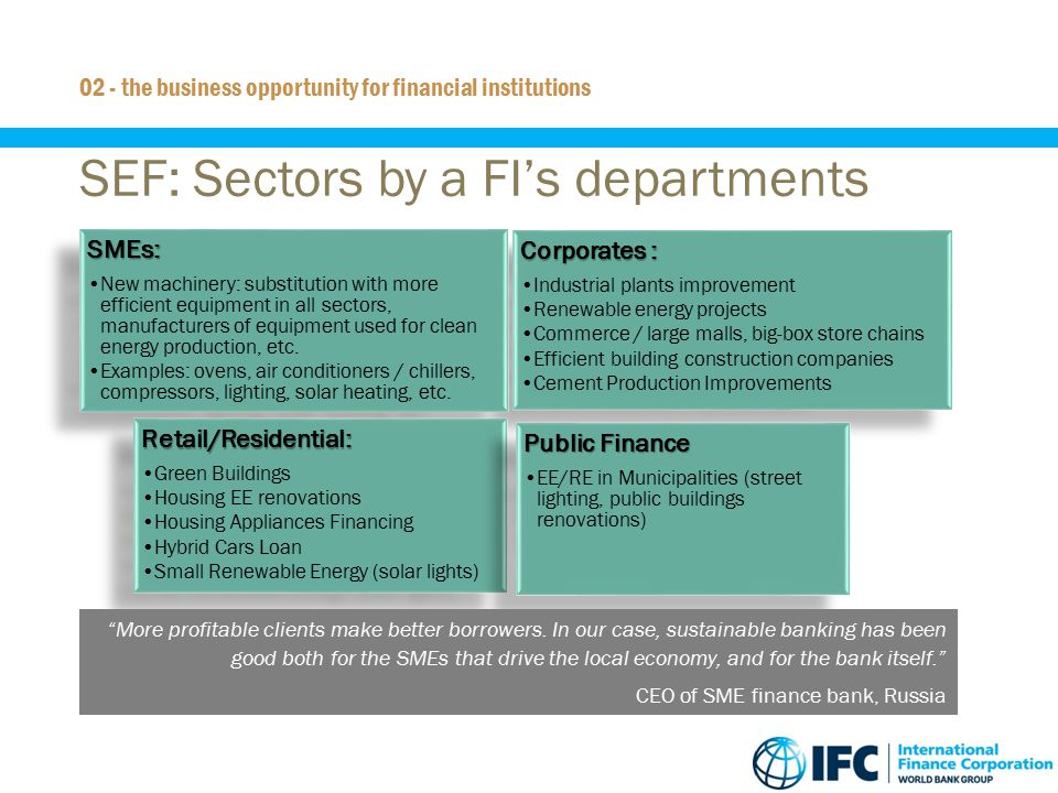 11 SEF: Sectors by a FI's departments 02 - the business opportunity for financial institutions Corporates : Industrial plants improvement Renewable en