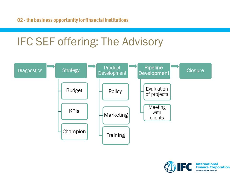 15 IFC SEF offering: The Advisory 02 - the business opportunity for financial institutions Diagnostics Strategy BudgetKPIsChampion Product Development