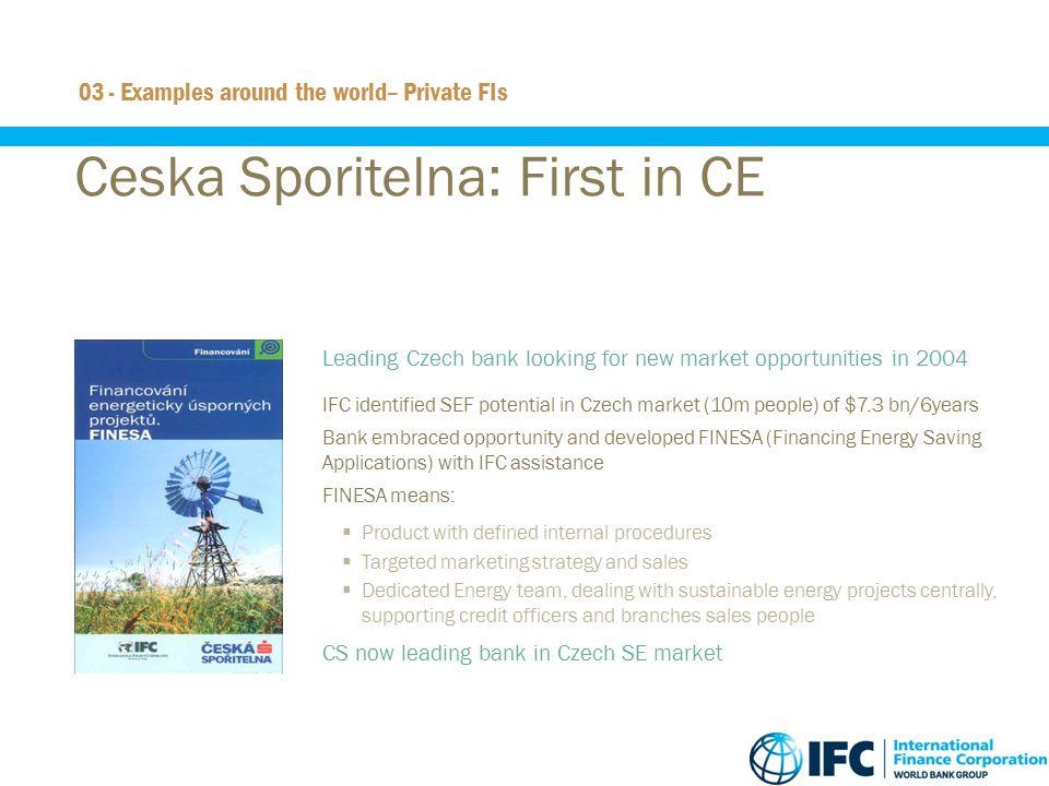 21 Ceska Sporitelna: First in CE  Leading Czech bank looking for new market opportunities in 2004  IFC identified SEF potential in Czech market (10m